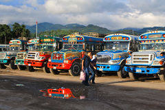 Guatemalan Chicken Busses. Chicken busses for public transportation. Guatemala Royalty Free Stock Images