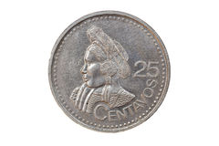 Guatemalan Coin. Twenty five cents coin from Guatemala, front face Royalty Free Stock Images