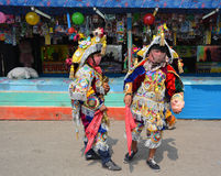 Guatemalan fiesta Masked dancers Royalty Free Stock Photography