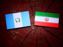 Guatemalan flag with Iranian flag on a tree stump isolated Stock Photography
