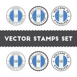 Guatemalan flag rubber stamps set. National flags grunge stamps. Country round badges collection Royalty Free Stock Image