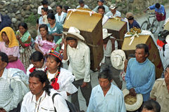 Guatemalan Indian Religious Procession of San Pedro. Guatemala, Jalapa Department, San Pedro Pinula Village: In the mountains, Indians, Indigenous peoples Royalty Free Stock Images