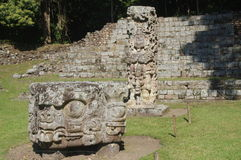 Stela and altar in Copan Royalty Free Stock Photography