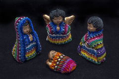 Guatemalan nativity scene. Traditional colorful handmade christmas figures made of fabric and clay royalty free stock photography