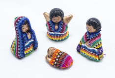 Guatemalan nativity scene. Traditional colorful handmade christmas figures made of fabric and clay stock image