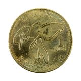 1 guatemalan quetzal coin 2000 obverse. Isolated on white background stock images