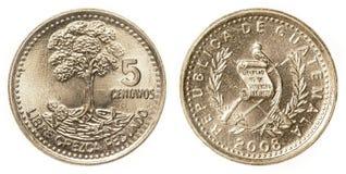 5 guatemalanskt centavos mynt Fotografering för Bildbyråer