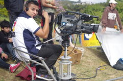 Guatevision broadcasting. Broadcasting news team of Guatevision, Guatemala royalty free stock photo