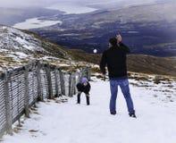 Guau, aquí viene una bola de nieve Fotografía de archivo