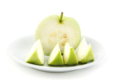 Guava. Piece of Fresh guava on dish Stock Photo