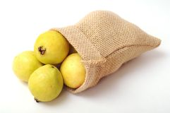 Guava in burlap bag Stock Photography