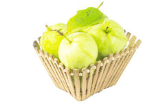 Guava fruit in basket isolated Royalty Free Stock Photos