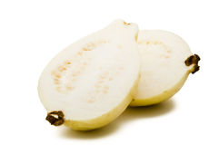 Guava Fruit Halves. Two Guava Fruit Halves Isolated Royalty Free Stock Photos