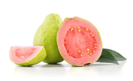 Guava fruit with leaves. Isolated on the white background Royalty Free Stock Photo