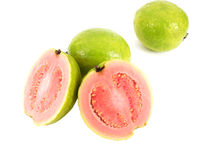 Guava. Fruit slices and whole fruits Royalty Free Stock Photography