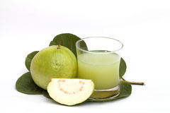Guava and guava juice isolated Stock Photos