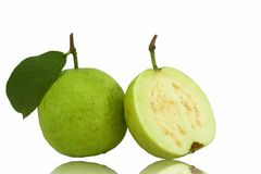 Guava Isolated on White background. Guava Isolated on White background with reflection Stock Photography