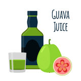 Guava juice, fruit alcohol, flat style. Tropical cocktail, shot, Stock Photography