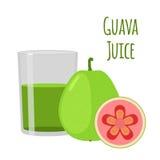 Guava juice, fruit alcohol, flat style. Tropical fresh, vitamin Stock Photography