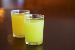 Guava juice and orange juice on table Royalty Free Stock Photography