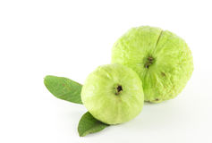 Guava with leaf. Guava (Psidium guajava Linn.)  with leaf on white background Stock Image