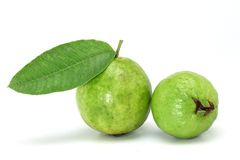 Guava with leaf on white Royalty Free Stock Photography
