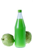 Guavas juice in bottle with  isolated white Royalty Free Stock Photos