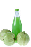 Guavas juice in bottle with  isolated white Stock Photos