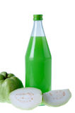 Guavas juice in bottle with  isolated white Royalty Free Stock Photography