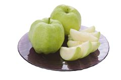 Guavas on plate Stock Photos