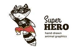 Guaxinim no caráter do traje do super-herói no fundo branco ilustração do vetor