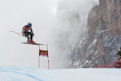 GUAY Erik (CAN). VAL GARDENA, ITALY - DECEMBER 21:  GUAY Erik (CAN) races down the Saslong competing in the Audi FIS Alpine Skiing World Cup MEN'S DOWNHILL on Royalty Free Stock Photos