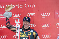 GUAY Erik (CAN). VAL GARDENA, ITALY 21 December 2013: GUAY Erik (CAN) takes 1st place during the Audi FIS Alpine Ski World Cup Men's downhill Stock Photography