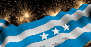 GUAYAQUIL city flag of blue and white color waving on a fireworks with white stars in black background. 3D Illustration vector illustration