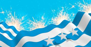 GUAYAQUIL city flag of blue and white color waving on a fireworks with white stars in blue background. 3D Illustration stock illustration