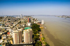 Guayaquil city view from above. A top view of Guayaquil city in Ecuador. Buildings, Malecon 2000, La Perla rueda moscovita and the Guayas river. Sunny no clouds Royalty Free Stock Photography