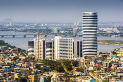 Guayaquil city view from above. A top view of Guayaquil city in Ecuador. Buildings, Puerto Santa Ana buildings and the Guayas river. Sunny no clouds royalty free stock image