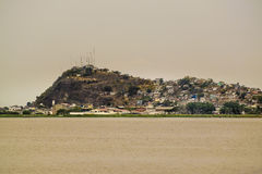 Guayas River and Hill with Houses View in Guayaquil Ecuadror Royalty Free Stock Photo