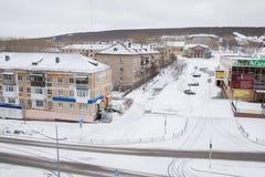 Gubakha, Permanentgebied, Rusland - April 16 2017: Stedelijk de lenteland royalty-vrije stock fotografie