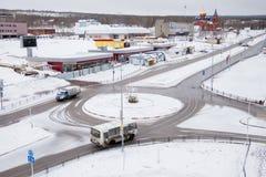 Gubakha, região do permanente, Rússia - 16 de abril 2017: Landsc da mola da cidade fotos de stock