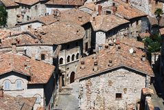 gubbio意大利中世纪城镇 库存照片