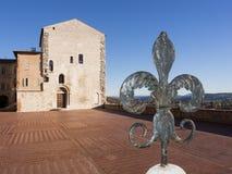 Gubbio, Италия Главная площадь и здание муниципалитет Стоковые Изображения RF