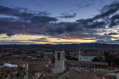Gubbio At The Sunset In Umbria Stock Photography
