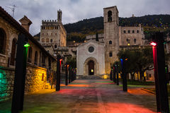 Gubbio with christmas lights Stock Photos