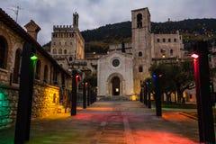 Gubbio with christmas lights Stock Photos