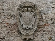 Gubbio - Ducal palace. Symbol of Ducal palace in the village of Gubbio, Umbria, Italy royalty free stock image
