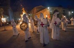 Gubbio Gubbio, Italië, de traditionele optocht van Vrijdag van Pasen-week Stock Fotografie