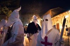 Gubbio Gubbio, Italië, de traditionele optocht van Vrijdag van Pasen-week Stock Afbeeldingen