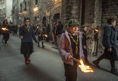 Gubbio Gubbio, Italië, de traditionele optocht van Vrijdag van Pasen-week Royalty-vrije Stock Afbeelding