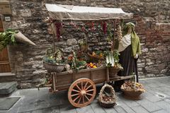 A visit to the beautiful medieval town of Umbria Region, during the Christmas holidays, with nativity scene of life-size statues. GUBBIO, ITALY - 08 DECEMBER Stock Photos